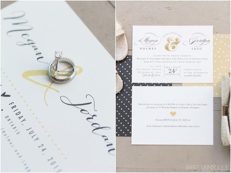 gold, black, and polka dot wedding stationary