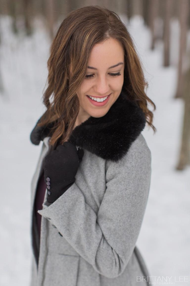 Ottawa winter portrait session in forrest