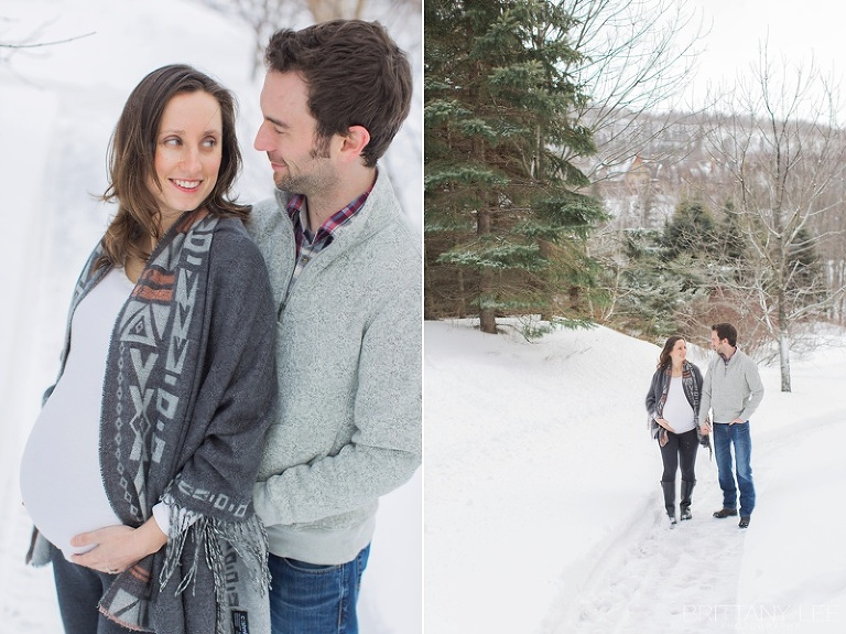 Mont Tremblant Winter Maternity Photos - couple walking down snowy path by ski hill