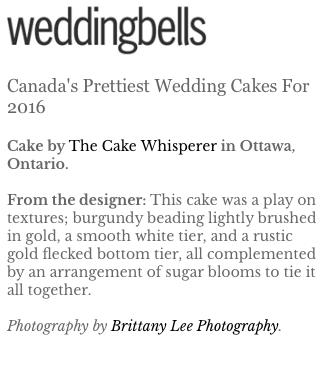 Ottawa wedding photos of cake by the Cake Whisperer
