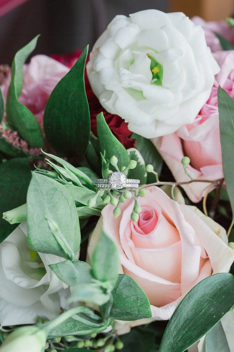 Brookstreet Hotel Ottawa Fall Wedding - Bridal rings in floral bouquet