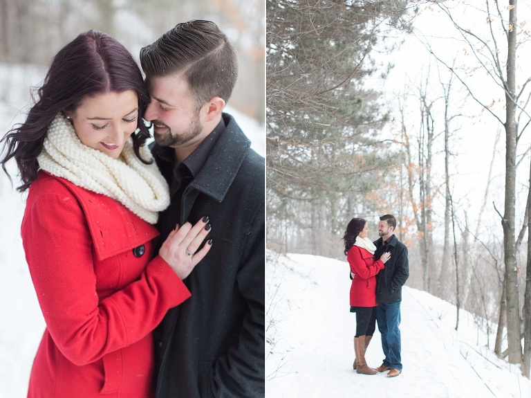 Mer Bleue Bog Winter Engagement - Bride in red coat and white scarf