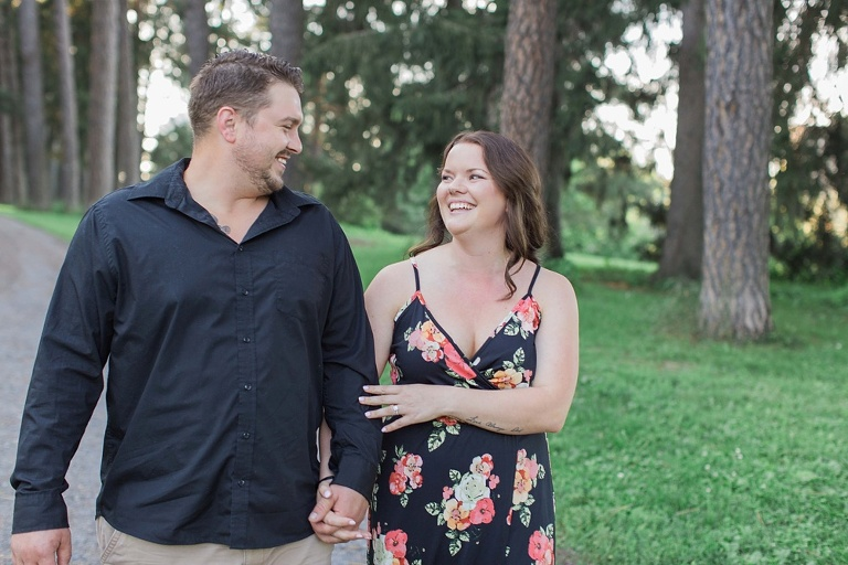Ottawa Arboretum engagement photos on a summer evening