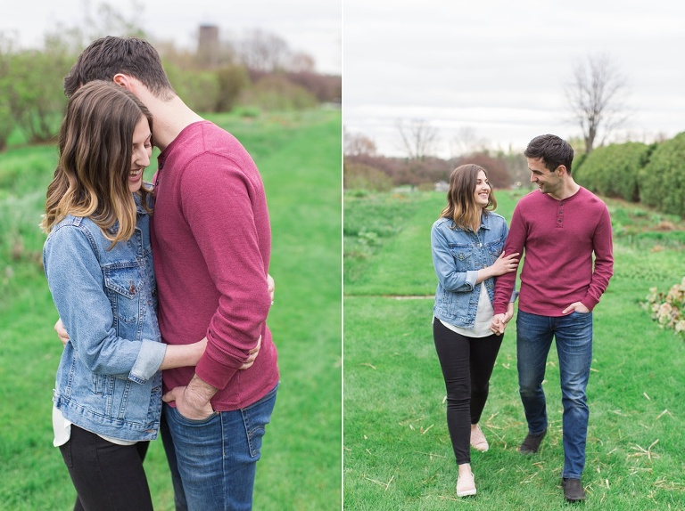 Casual and fun Spring Experimental Farm engagement photos in Ottawa