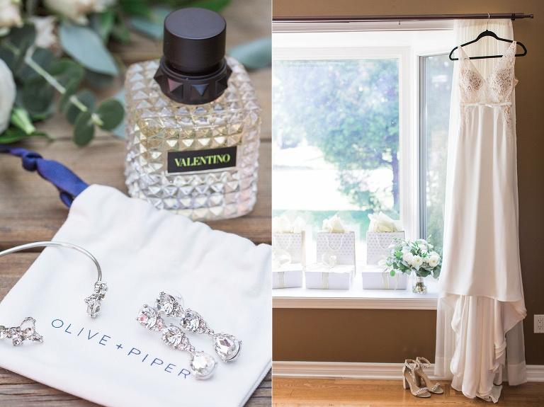 brides dress hanging